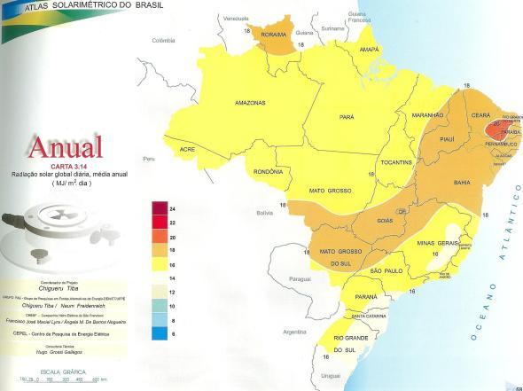 Carta solar- Radiação solar global diária média anual